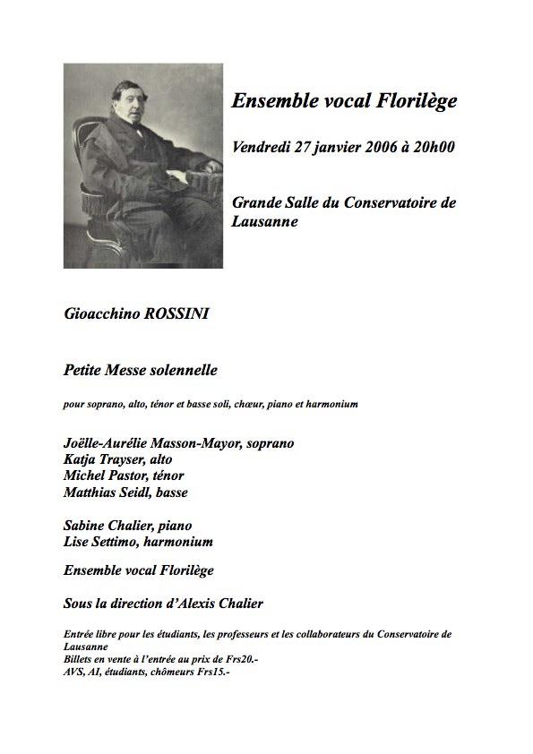 Affiche du concert du 27 Janvier 2006 à Lausanne