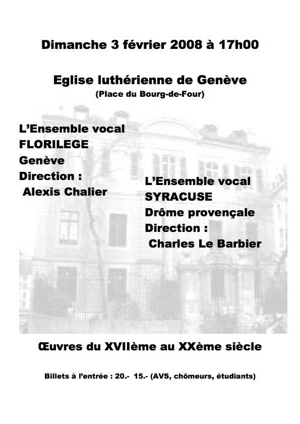 Affiche du concert du 03 Février 2008, Eglise Luthérienne, Genève